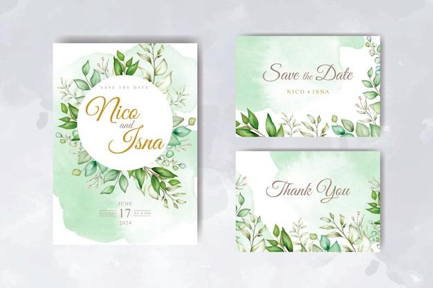 水彩花柄と葉を持つ柔らかくエレガントな結婚式の招待カードテンプレート
