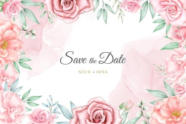 水彩花柄と葉で柔らかくエレガントな結婚式の招待状のデザイン