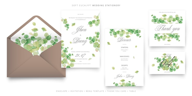 Soft eucalypt wedding invitation card template collection