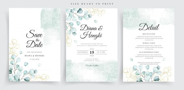 Soft eucalyptus watercolor wedding card set template