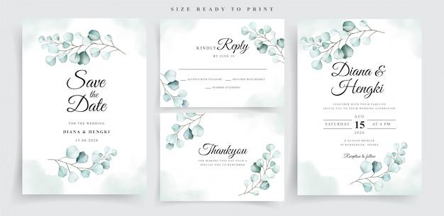Soft eucalyptus watercolor wedding card template