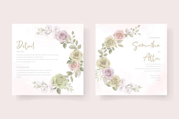 부드러운 꽃과 잎 청첩장 디자인