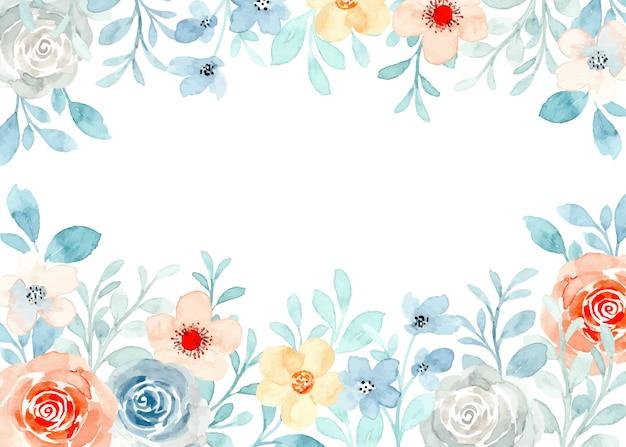 수채화와 부드러운 꽃 프레임