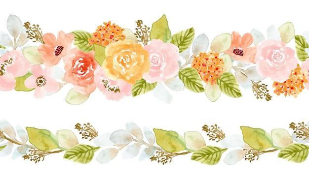 柔らかい花の水彩画のシームレスな境界線