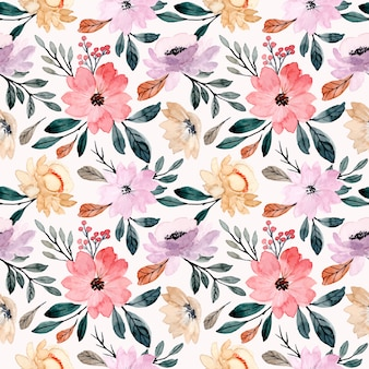 Soft floral watercolor seamless pattern