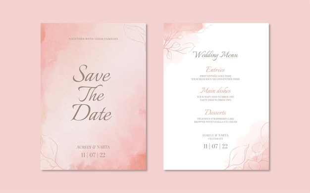 Soft floral watercolor wedding invitation and menu template
