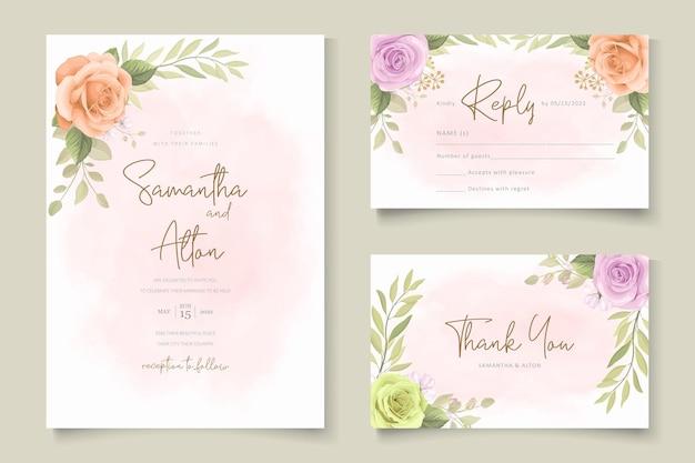 Набор шаблонов мягких цветочных свадебных приглашений