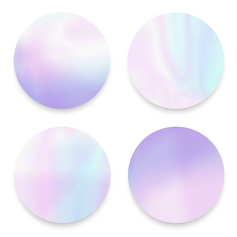 Soft fluid, holographic,gradient round frames set