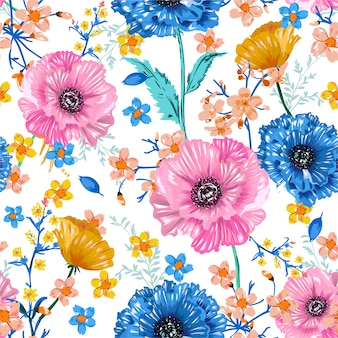 Soft and fresh blooming sweet garden flower colourful blossoms  florla botanical seamless pattern