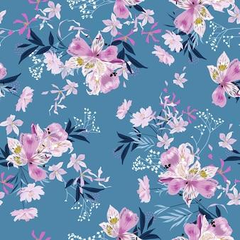 다양한 종류의 식물이 매끄러운 패턴 벡터 eps10, 패션, 직물, 섬유, 벽지, 커버, 웹, 밝은 파란색으로 포장된 부드럽고 섬세한 블루밍 가든 꽃