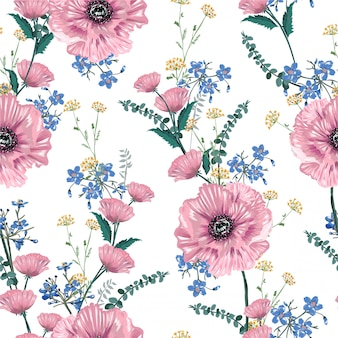 Soft and gentle of blooming pink poppy florals and garden flowers seamless pattern illustration