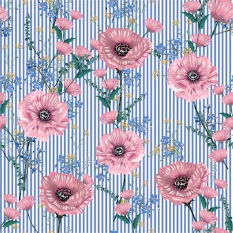 Soft and gentle of botanical blooming garden flowers many kind of floral seamless pattern