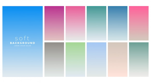 Soft gradients colors swatch set