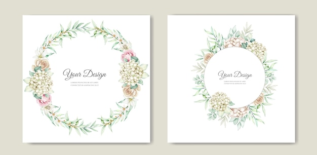 Soft green floral wedding invitation card set
