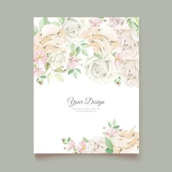 Soft green floral wedding invitation card set