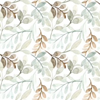 Soft green leaves watercolor seamless pattern