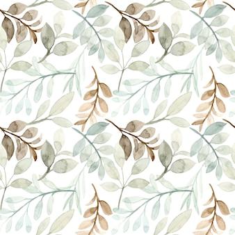 부드러운 녹색 잎 수채화 원활한 패턴
