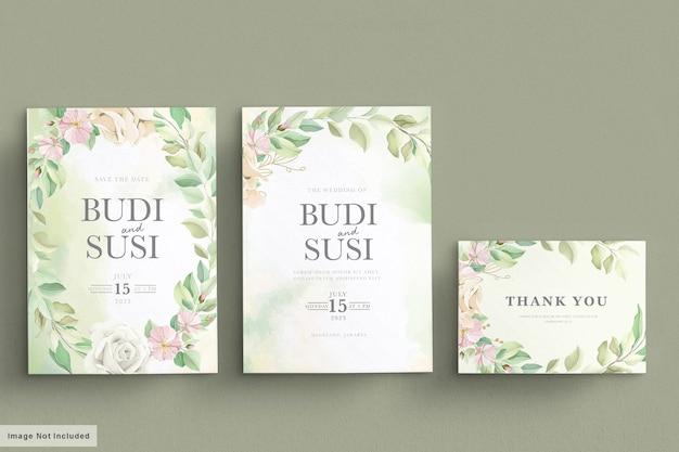 Набор мягких зеленых свадебных открыток