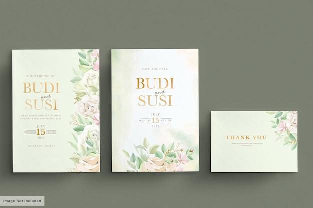 Набор мягких зеленых свадебных открыток Premium векторы