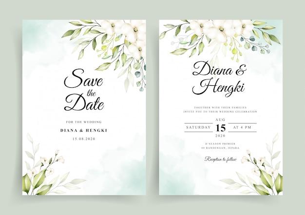 結婚式の招待カードテンプレートに柔らかい緑水彩