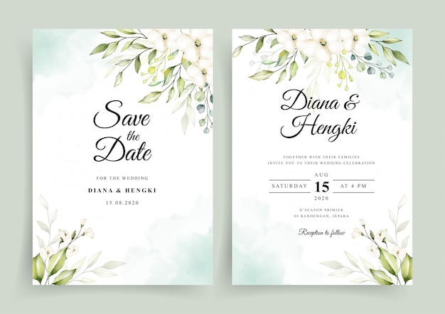 Soft greenery watercolor on wedding invitation card template