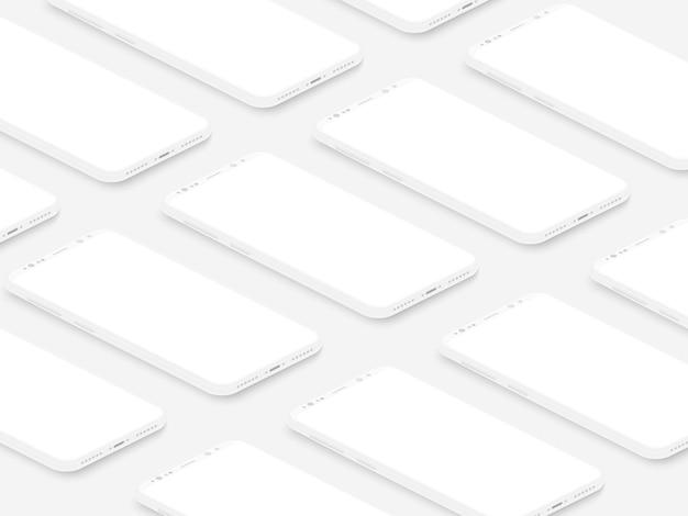 ビジネスプレゼンテーション用の空白の画面グリッドを備えたソフトアイソメトリックホワイトリアルスマートフォン