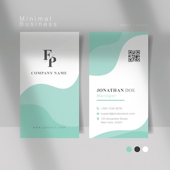 Soft mint curve minimal business card