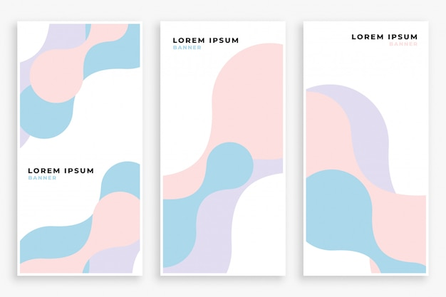 Soft pastel color curve banners set