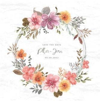 柔らかいピンクと桃の花の水彩画の花輪