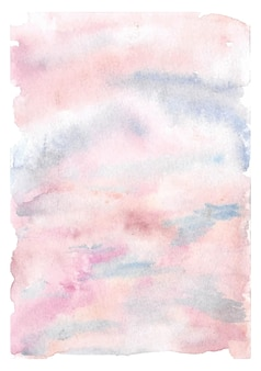 Soft pink and blue cloudy sky watercolor background