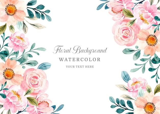 수채화와 부드러운 분홍색 꽃 배경
