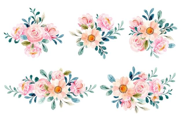 수채화와 부드러운 분홍색 꽃 꽃다발 컬렉션