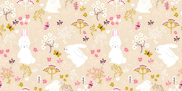 Soft pink floral and bunny illustration in seamless pattern
