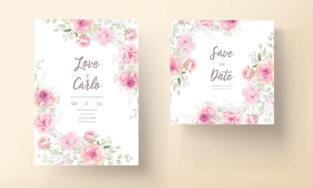 Soft pink floral wedding invitation card