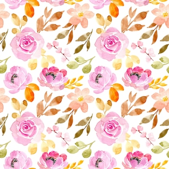 Soft pink flower watercolor seamless pattern