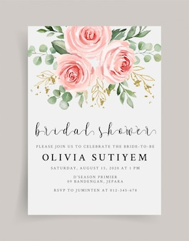 Soft pink and gold bridal shower invitation template