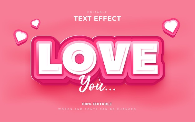 Soft pink love text effects