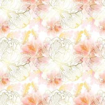 やわらかなピンクの牡丹のシームレスなパターン