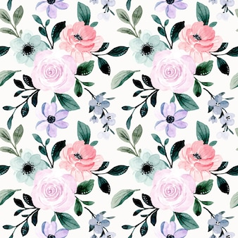 Soft pink purple floral watercolor seamless pattern