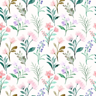 Soft pink purple wild floral watercolor seamless pattern