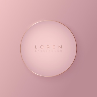 金のフレーム、ベクトル図と柔らかいピンクの丸い3d背景形状