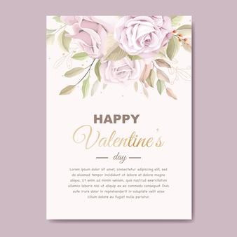 Biglietto di auguri di san valentino rosa tenue