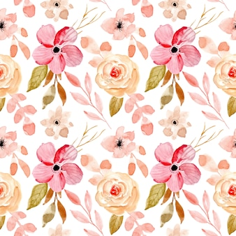 Soft pink watercolor floral seamless pattern