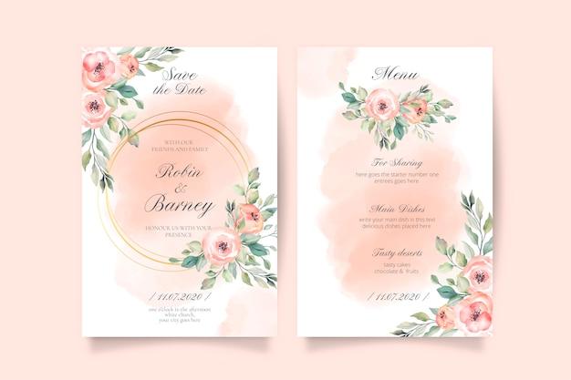 柔らかいピンクの結婚式の招待状とメニューテンプレート
