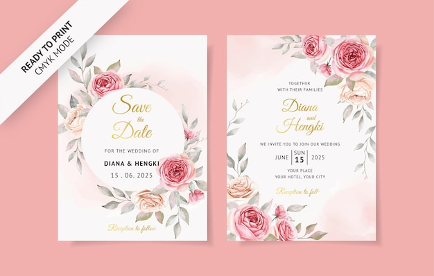 柔らかいピンクの結婚式の招待カード