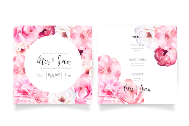 Soft pink wedding invitation template with menu