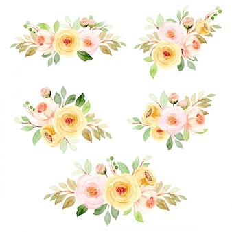 Soft pink yellow watercolor floral arrangement collection