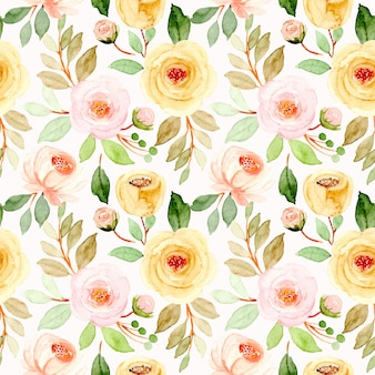 Soft pink yellow watercolor floral seamless pattern