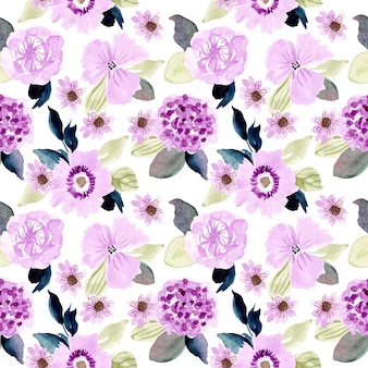 Soft purple floral watercolor seamless pattern