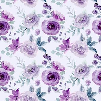 부드러운 보라색 꽃 수채화 원활한 패턴